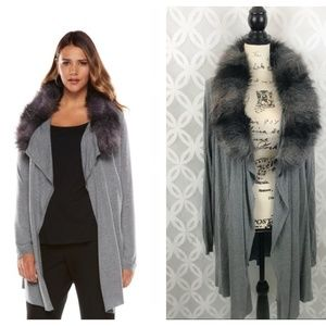 Jennifer Lopez Plus Size Faux Fur Collar Cardigan